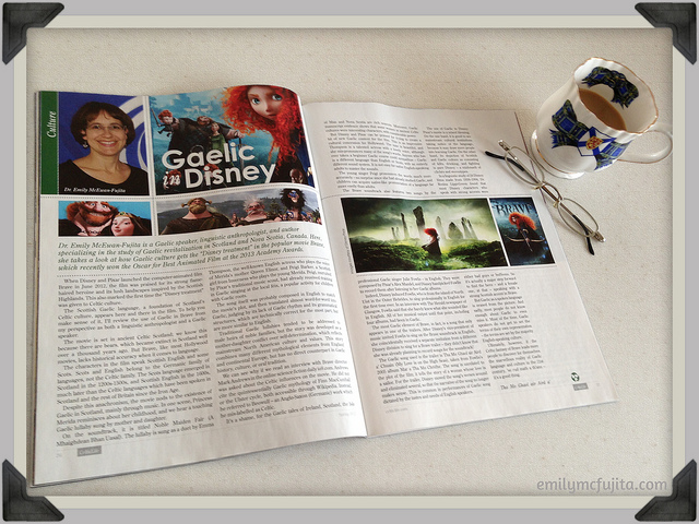 """""""Gaelic in 'Brave'"""" in Celtic Life Magazine"""