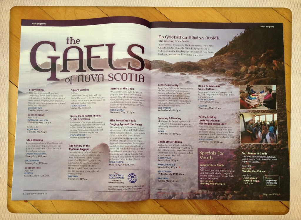 """Halifax Library Guide """"Gaels of NS"""" workshop listings"""