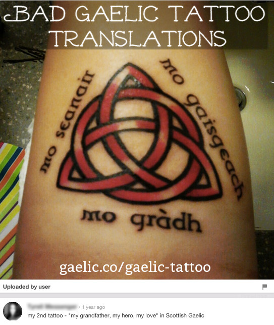 A misseplled Gaelic tattoo translation