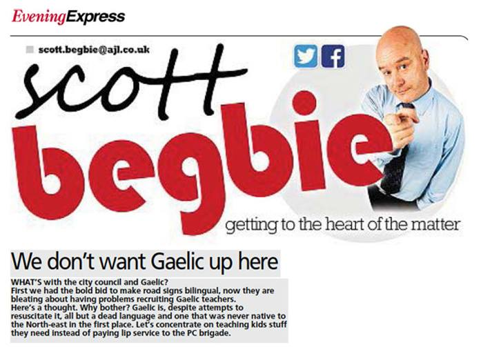 Columnist Scott Begbie's rant against Gaelic in the Evening Express tabloid