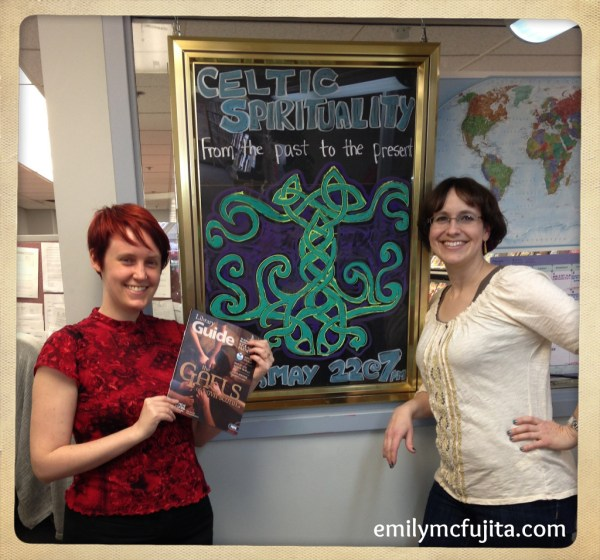 Alys and Emily with Celtic Spirituality workshop sign