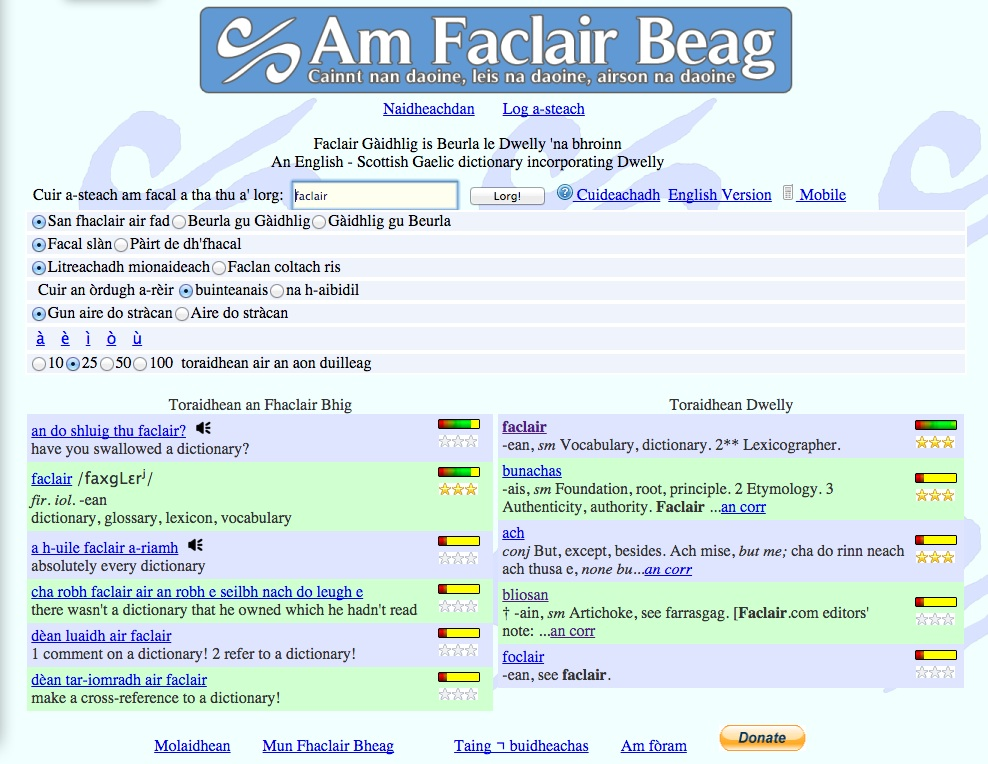 "A screenshot of the search results for ""faclair"" in the online Gaelic dictionary ""Am Faclair Beag"""