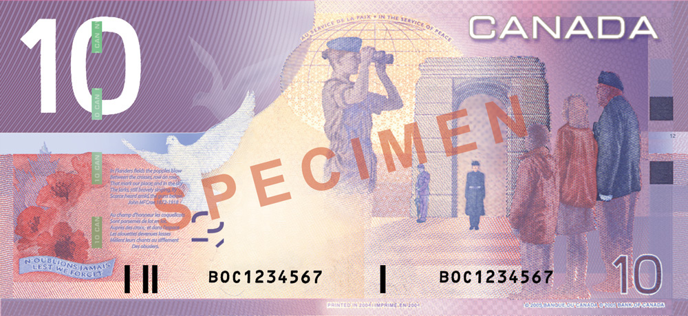 Bank of Canada $10 note - Remembrance and Peacekeeping