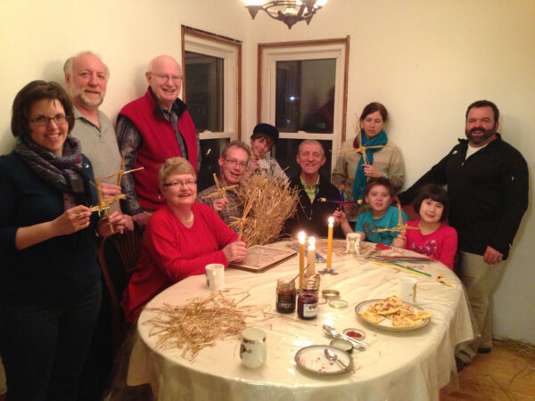 A group gathered for the eve of St. Bridget's Feast Day