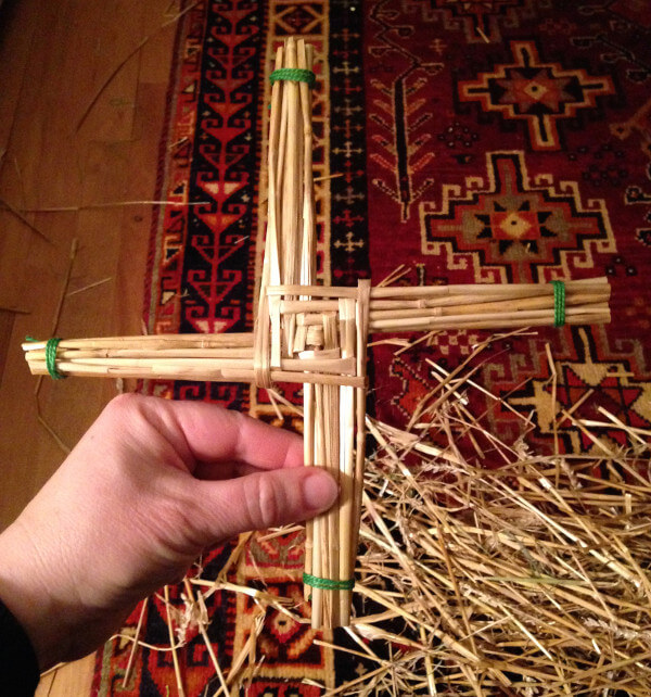 A St. Bridget's cross made of straw