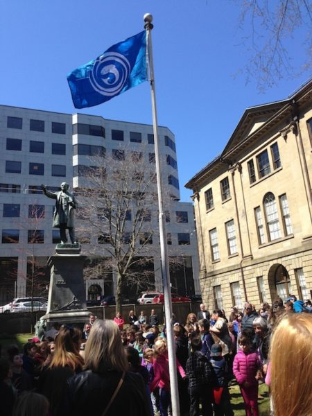 The Gaelic flag, flying at Province House for the month of May