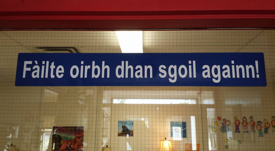 Gaelic sign at H.M. MacDonald Elementary School, Maryvale, Antigonish County, Nova Scotia