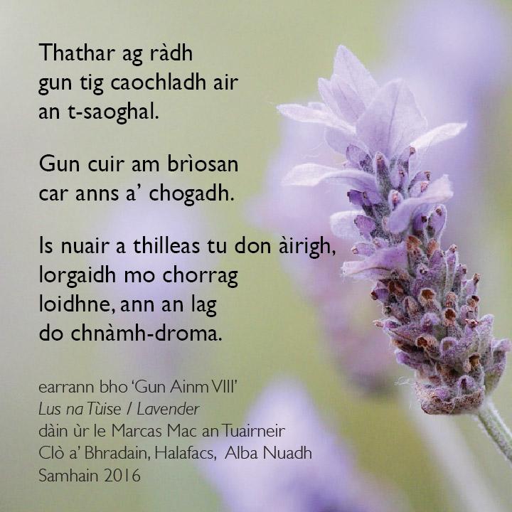"""Excerpt from """"Gun Ainm VIII"""" (Unnamed VIII) by Marcas Mac an Tuairneir"""
