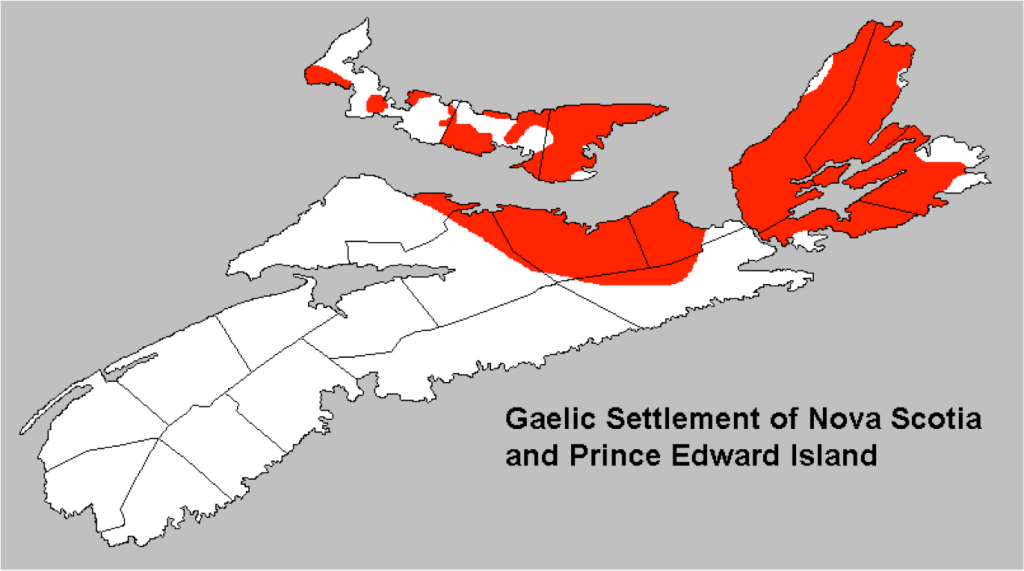 Map of Gaelic settlement of Nova Scotia and PEI from Kennedy 2002