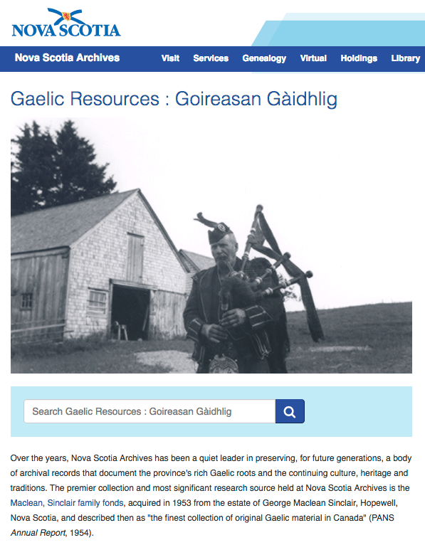 Gaelic Resources at the Nova Scotia Archives