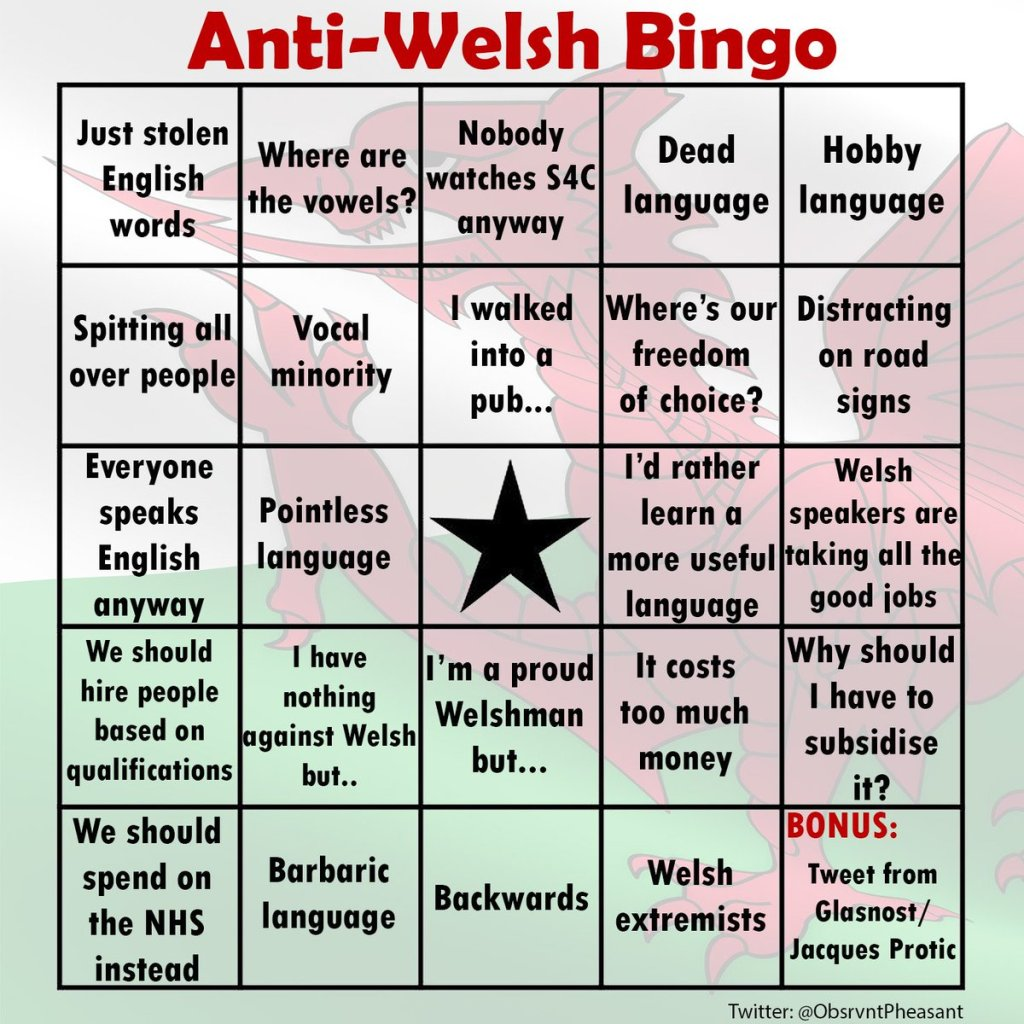 Anti-Welsh Bingo card
