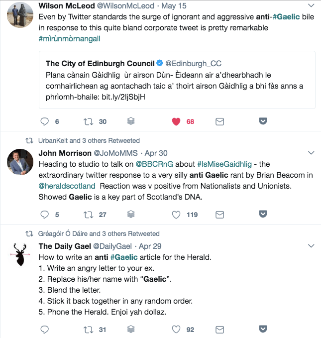 Some Twitter responses to anti-Gaelic rhetoric