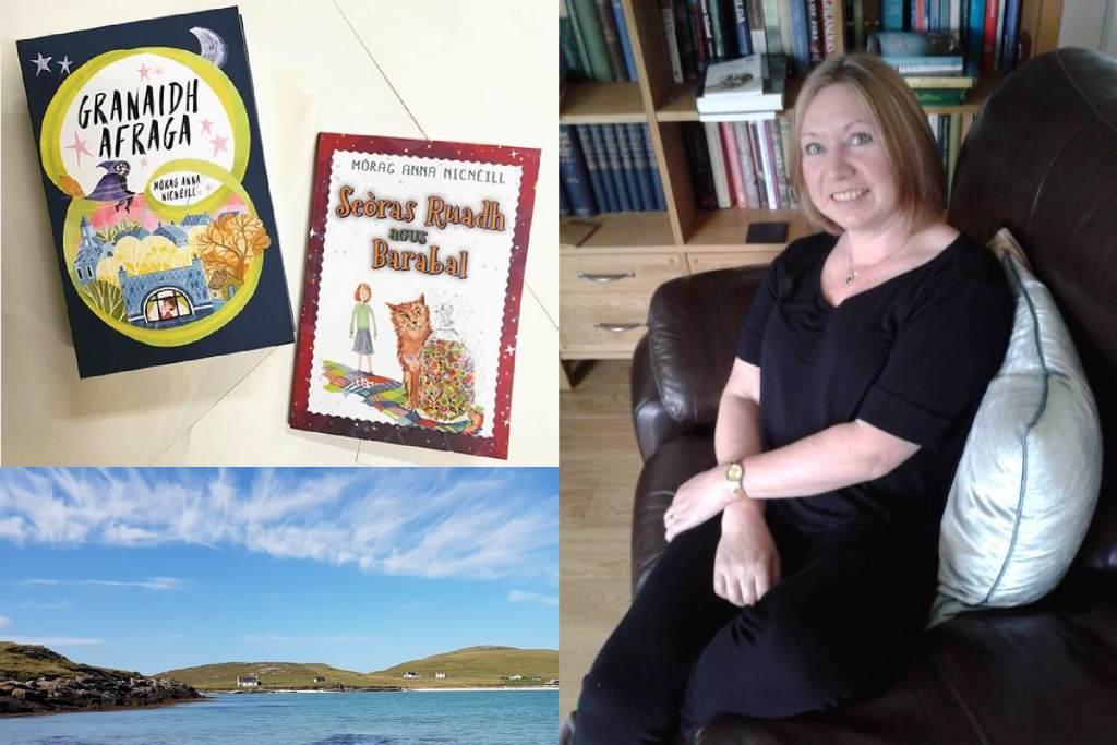 Gaelic translator Mòrag Anna NicNèill, two of her original Gaelic children's books, and the village of Eoligarry, Isle of Barra / Eolaigearraidh, Eilean Bharraigh where Mòrag Anna lives