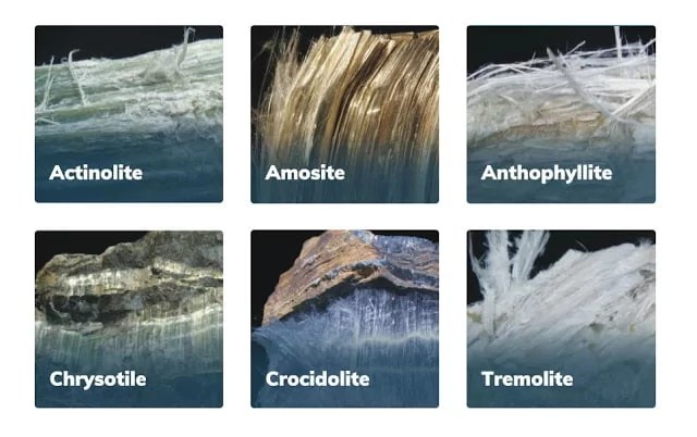 Asbestos is the name given to a group of six different fibrous minerals (amosite, chrysotile, crocidolite, and the fibrous varieties of tremolite, actinolite, and anthophyllite)