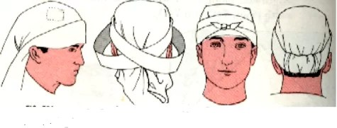 Triangular bandage for scalp and fore head