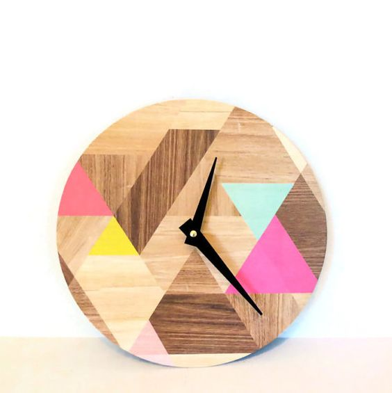 Geometric clock, etsy
