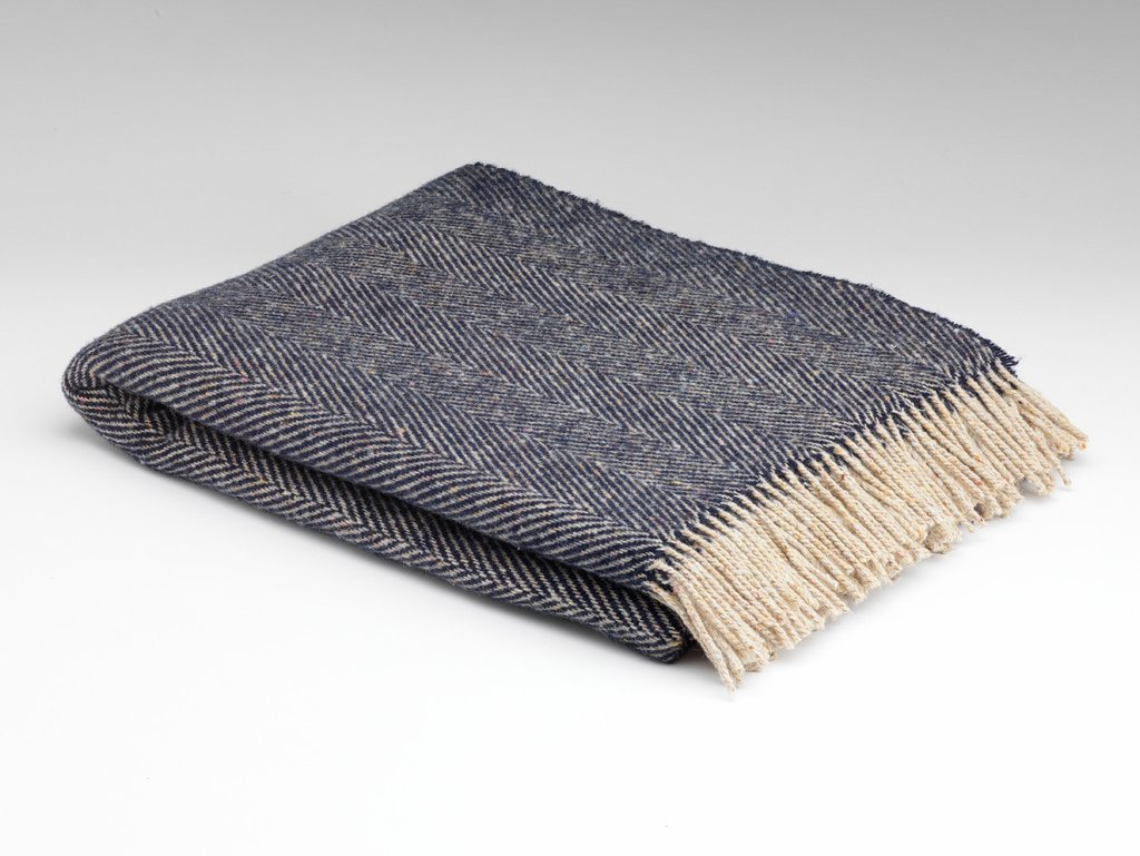 Irish Wool Blanket in Denim Herringbone, €70 at Industry