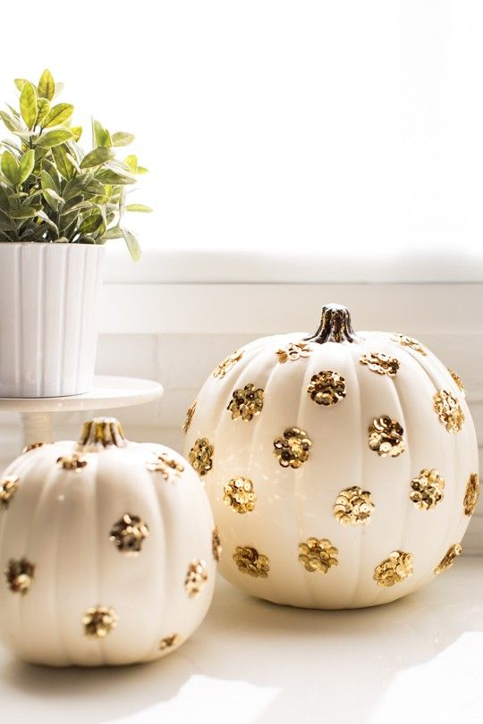 Decorated Pumpkins sugar and cloth halloween