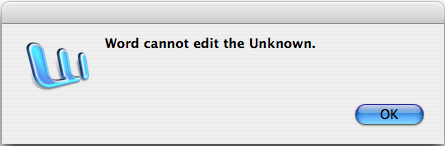 Word cannot edit theunknown