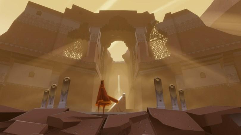 Spillets ruinfyldte landskaber byder på mange smukke hemmeligheder. (image credit: thatgamecompany)