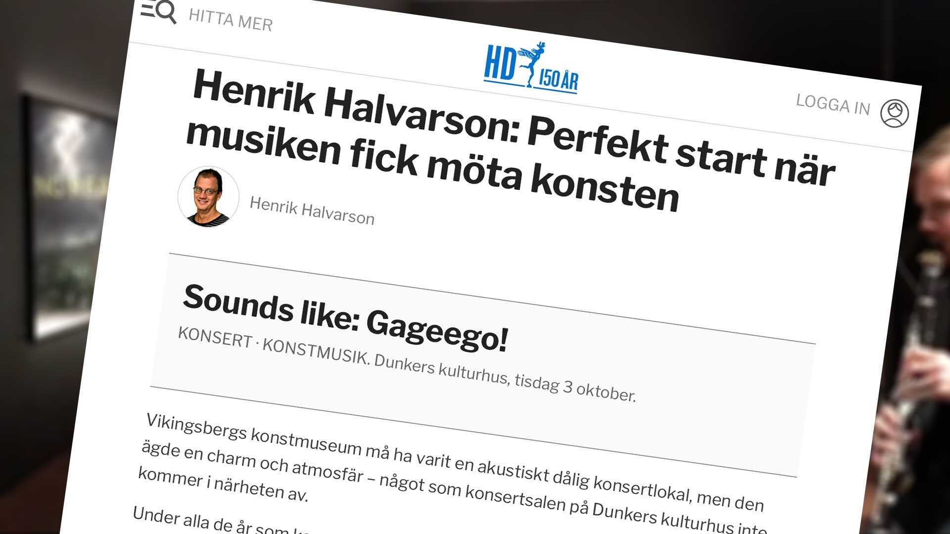 Avbildad recension från Helsingborgs Dagblad, HD.se