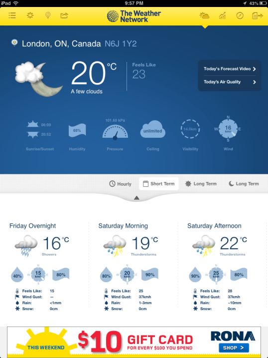 The Weather Network App Review, from a 13 part series on iPad apps by GagenGirls.com