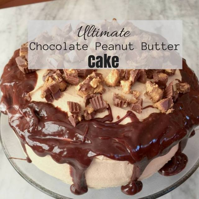 This Ultimate Chocolate Peanut Butter Cake is part of the #12DaysOf Thanksgiving at GagenGirls.com