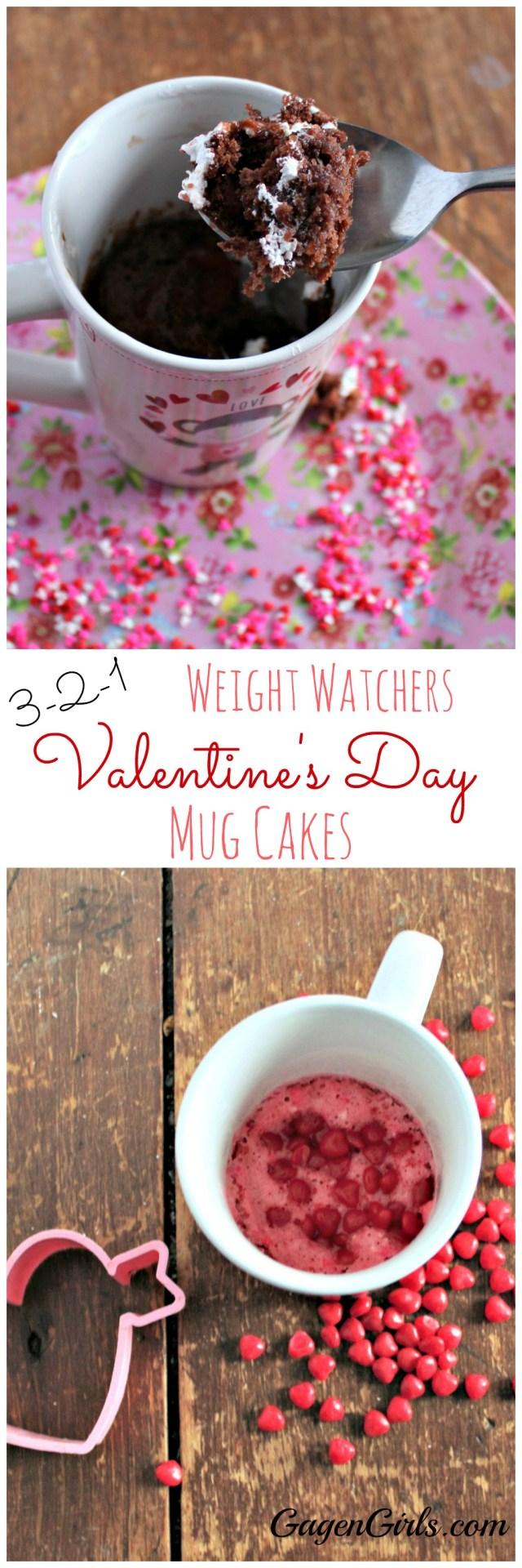 3-2-1 Weight Watchers Valentine's Day Mug Cakes