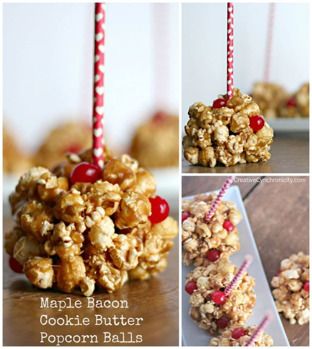 Maple Bacon Cookie Butter Popcorn Balls - part of the #12DaysOf Valentine's Day