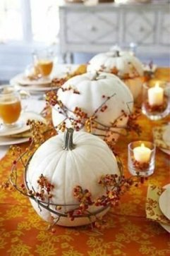 Admiring White And Orange Pumpkin Centerpieces Ideas For Halloween 42