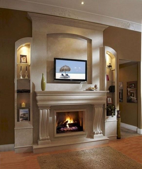 Delicate Living Room Design Ideas With Fireplace To Keep You Warm This Winter 26