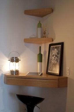 Comfy Corner Floating Shelves Design Ideas To Beautify Your Room Corner 16