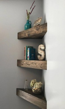 Comfy Corner Floating Shelves Design Ideas To Beautify Your Room Corner 34