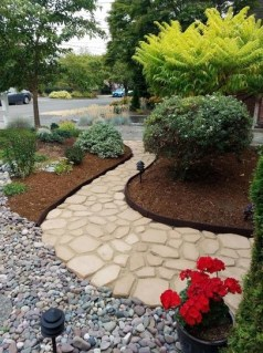 Delicate Garden Landscaping Design Ideas Using Rocks Stone To Try 30