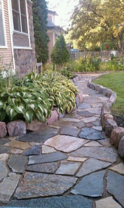 Delicate Garden Landscaping Design Ideas Using Rocks Stone To Try 36
