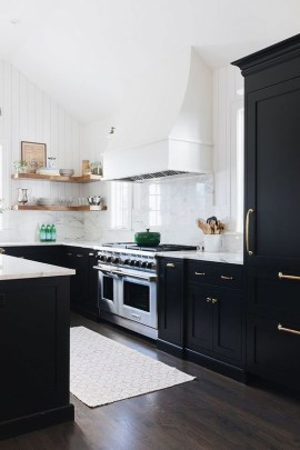 Stylish Black Kitchen Interior Design Ideas For Kitchen To Have Asap 34