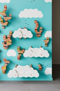 Magnificient Wooden Sky Villages Building Ideas For Interactive Kid Walls 22