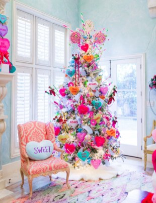Pretty Pink Winter Tree Decorating Ideas That Looks So Awesome 27