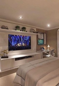 Stylish Bedroom Design Ideas With Tv Wall To Try Asap 39