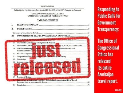 Office of Congressional Ethics releases 70-page report and over 1000 pages of finding on Azerbaijan travel scandal case