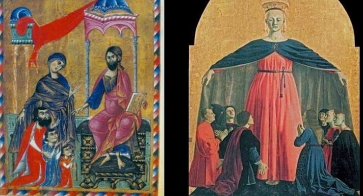 On the left: Holy Mother pleads for duke Vasak and his sons. Vasak's book of gospels, 13th century. On the left: Madonna of Mercy, Piero della Francesca