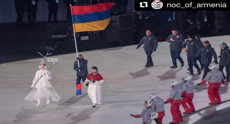#Armenian  athletes at the #Winter #Olympics!  flag waving at the opening ceremonies