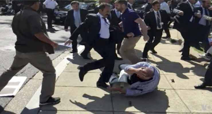 A frame grab from a video shows clashes during a protest in Washington, D.C., last year. PHOTO: VOICE OF AMERICA/ASSOCIATED PRESS