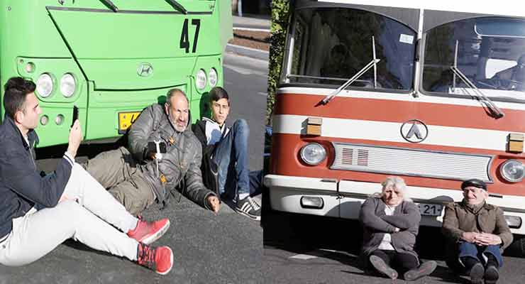 MP Pashinyan lies down in front of bus