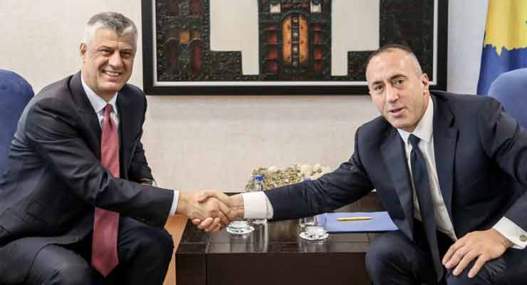 Kosovar Prime Minister Ramush Haradinaj (right) and President Hashim Thaci (shown here in happier times) are in sharp disagreement over the arrest and deportation of six Turkish nationals.
