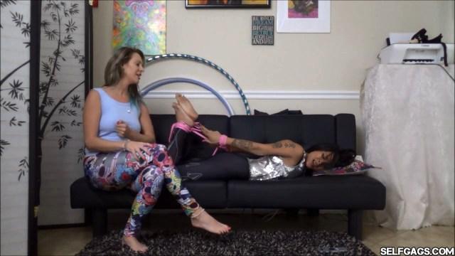 asian girl wakes up to hogtie bondage