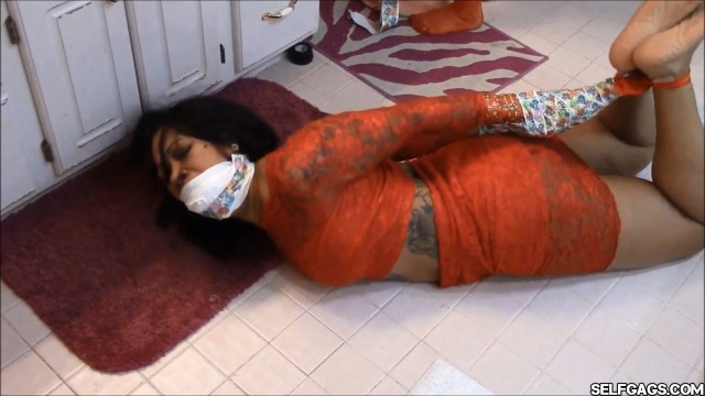 black girl hogtied gagged and helpless in bondage