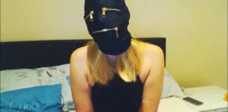Ball gagged and tape gagged girl hooded selfgags