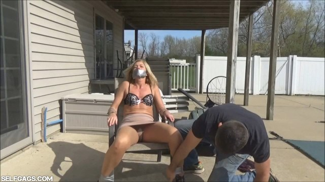 Tape gagged milf Dakkota Grey tied to chair selfgags