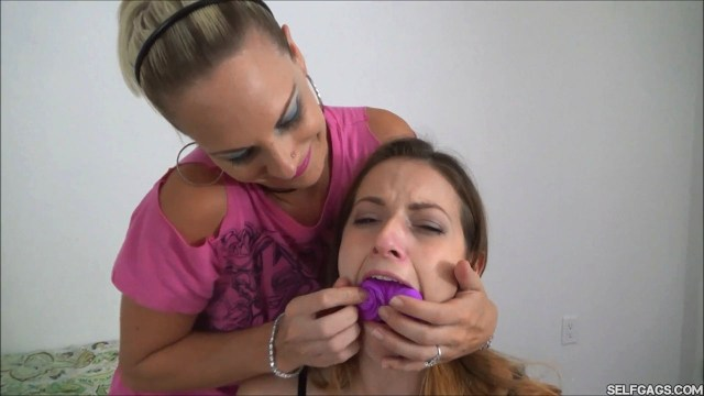sexy girl mouth stuffed with milf's dirty panties selfgags